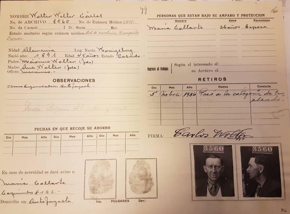 Un registro de uno de los judíos llegados a Bolivia.