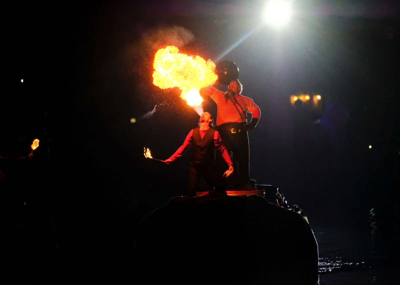 Fire-eaters perform during the opening ceremony of the Carnival in Venice, Italy January 27, 2018. REUTERS/Manuel Silvestri