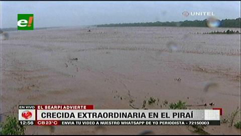 Searpi recomienda alejarse de los alrededores del río Piraí debido a la crecida