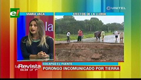 Alcaldía de Porongo habilitará primero un paso peatonal tras la caída del puente