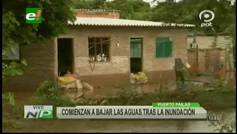 Comienzan a bajar las aguas tras la inundación en Puerto Pailas