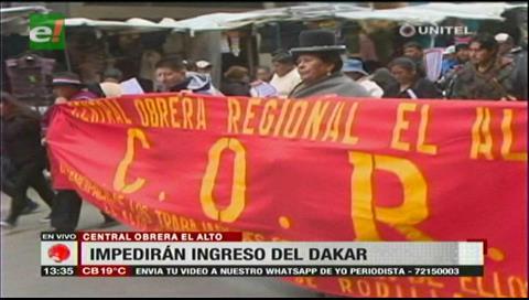 La COR impedirá el ingreso del Dakar a El Alto
