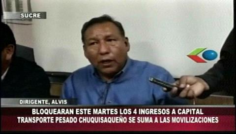 Sucre: El transporte pesado va al bloqueo y ratifican el paro cívico