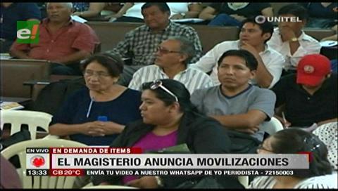 Santa Cruz: Magisterio anuncia movilizaciones en demanda de ítems