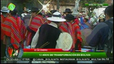 Comenzaron los festejos por el Día del Estado Plurinacional en Plaza Murillo