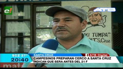Campesinos afines a Evo cercarán Santa Cruz antes del 21 de febrero