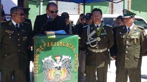 El ministro de Gobierno, Carlos Romero, en Oruro. Foto:Policía