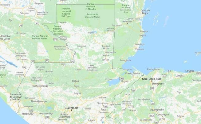 La reserva de la biosfera maya está en el norte del Guatemala. (Google Maps)
