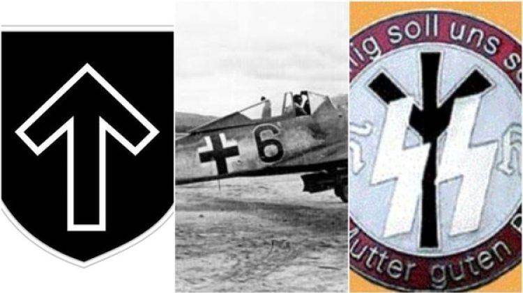La runa 'Tyr' utilizada por los nazis, la Cruz Báltica y la Runa Leben en una insignia del programa Lebensborn