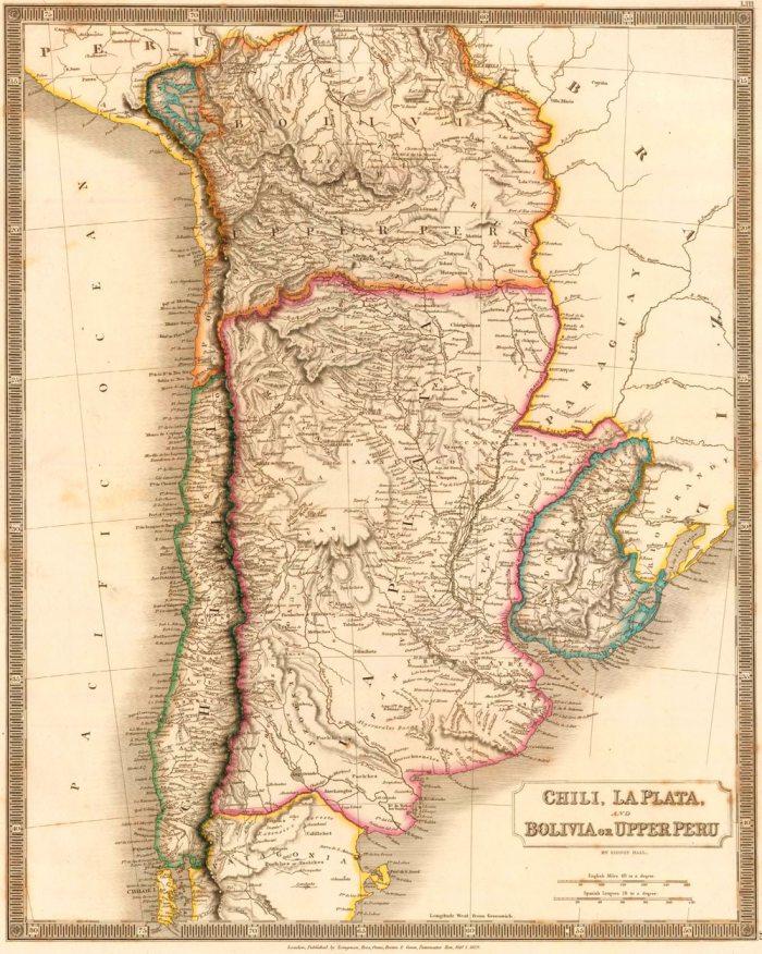 LA PLATA Y BOLIVIA O ALTO PERÚ, A PRINCIPIOS DE LA REPÚBLICA. AUTOR: HALL, S. (SIDNEY), 1829. DESPUÉS DE SU INDEPENDENCIA, BOLIVIA CONTINUÓ EJERCIENDO SOBERANÍA SOBRE EL DESIERTO DE ATACAMA Y SU COSTA EN EL OCÉANO PACÍFICO SOBRE LA BASE TERRITORIAL HEREDADA DE LA REAL AUDIENCIA DE CHARCAS.