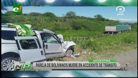 Pareja de bolivianos muere en accidente de tránsito en Argentina