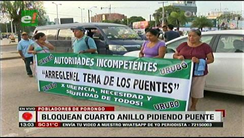Pobladores de Porongo bloquearon el ingreso al Urubó exigiendo el puente Bicentenario