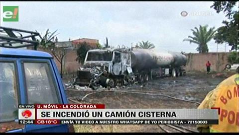 Se incendió un camión cisterna