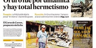 Portadas de periódicos de Bolivia del jueves 15 de febrero de 2018