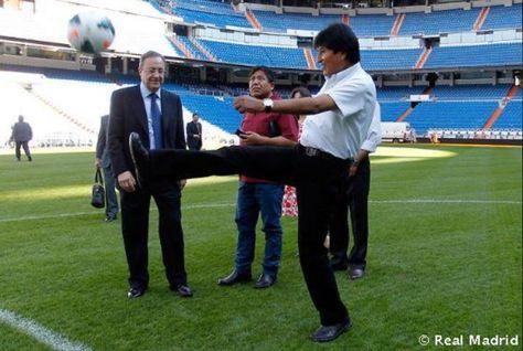 Evo Morales y Florentino Pérez durante un encuentro anterior. Foto: www.realmadrid.com