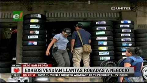 Exreos de Palmasola vendían llantas robadas a un negocio