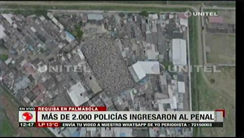 Imágenes aéreas muestran el ingreso de los Policías al penal de Palmasola