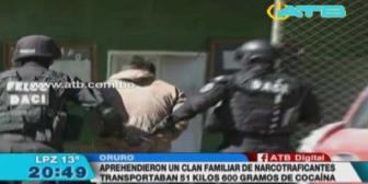 Policía aprehendió a clan familiar de narcotraficantes en Oruro