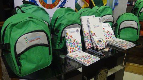 Las mochilas escolares que compró la Alcaldía de Cochabamba.