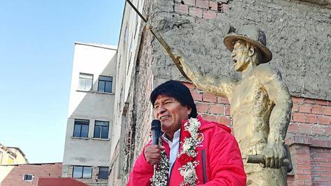 El presidente Evo Morales en el aniversario de la COB. Foto:Ministerio de Comunicación