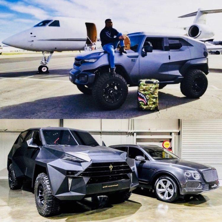 """El actor Jamie Fox junto a su modelo Rezvani. Debajo, el King comparado con el """"diminuto"""" modelo Bentayga de Bentley"""