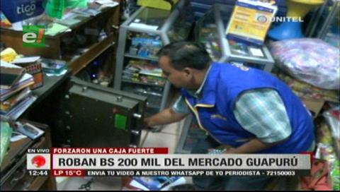 Delincuentes roban Bs. 200 mil de la caja fuerte de un negocio en el mercado Guapurú
