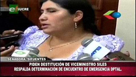 Senadora Sifuentes respalda pedido de destitución del viceministro Siles