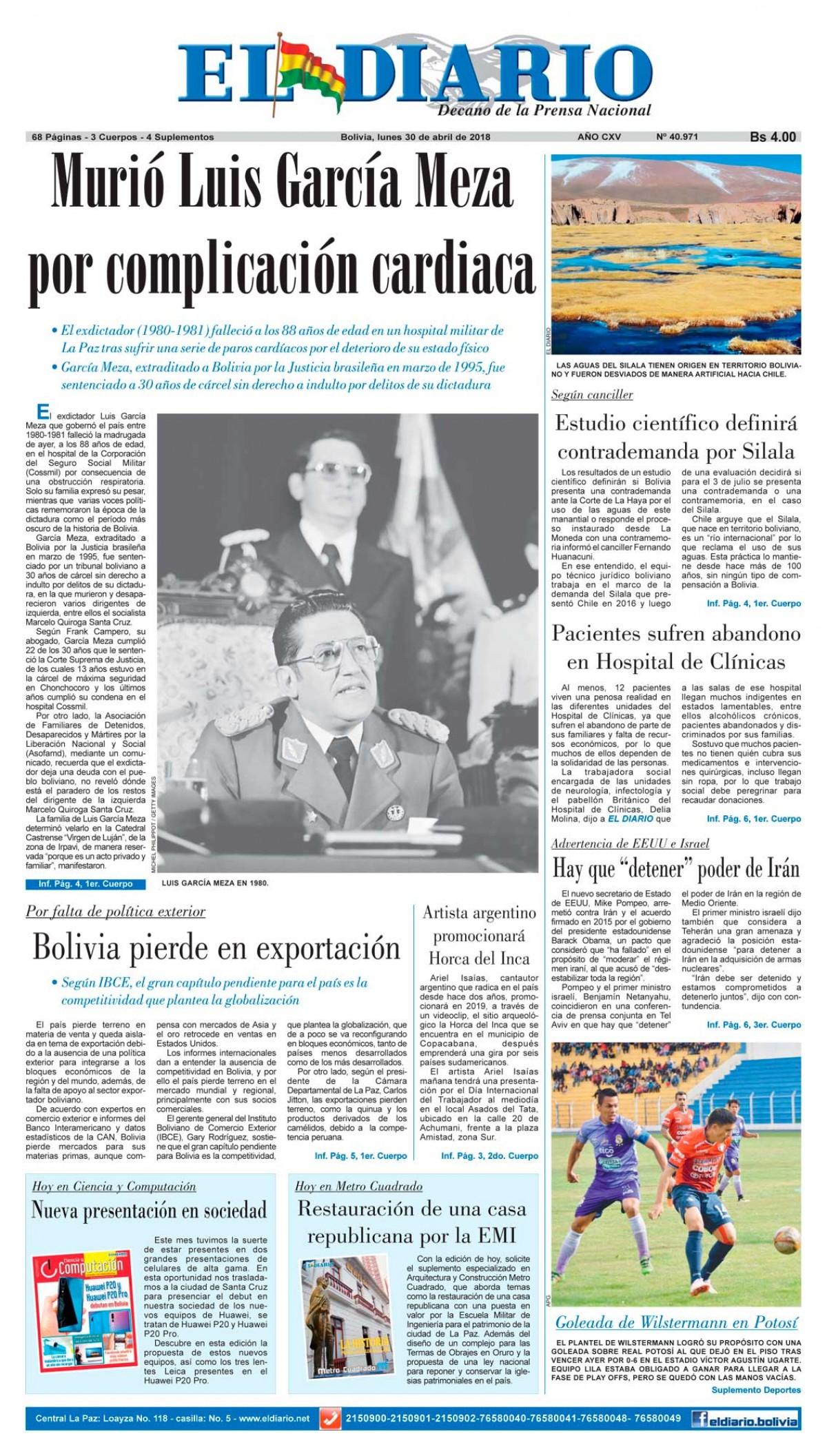Portadas De Periodicos De Bolivia Del Lunes 30 De Abril De 2018 Eju Tv
