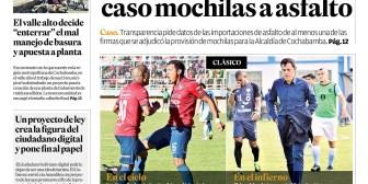 Portadas de periódicos de Bolivia del lunes 16 de abril de 2018
