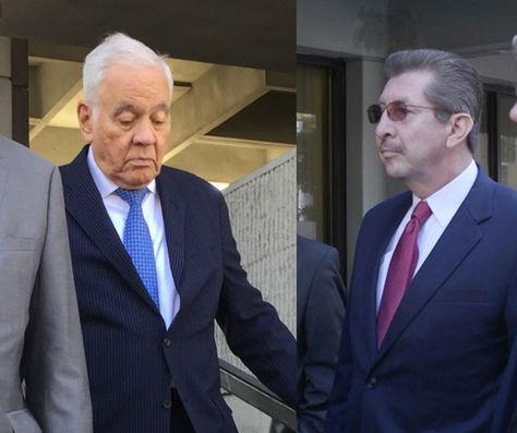 Gonzalo Sánchez de Lozada y Carlos Sánchez Berzaín durante su asistencia a la Corte en Miami.