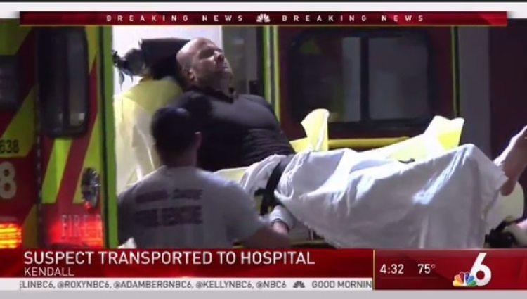 El sospechoso es trasladado a un hospital cercano donde fue atendido por sus heridas, que no revistieron gravedad