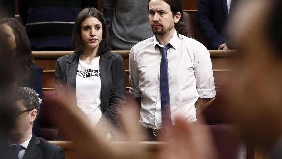Pareja. El secretario general de Podemos, Pablo Iglesias, y su esposaa y portavoz del partido en el Congreso de los Diputados, Irene Montero.