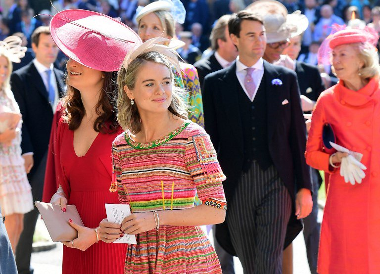 Cressida Bonas arrives for the wedding ceremony of Britain