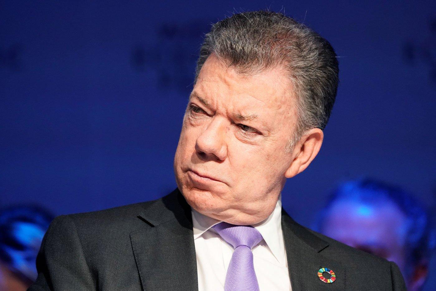 El presidente de Colombia Juan Maniel Santos en el Foro Económico Mundial el 24 de enero de 2018. REUTERS/Denis Balibouse