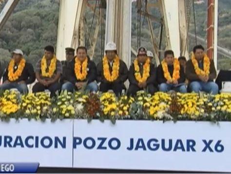 El presidente Evo Morales en el inicio de perforación de pozo hidrocarburífero en Tarija. Captura de Bolivia tv