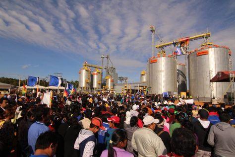 El evento que se organizó en Pando para la entrega de silos.