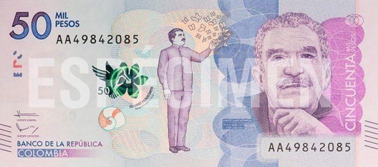 Billete de 50 mil pesos colombianos