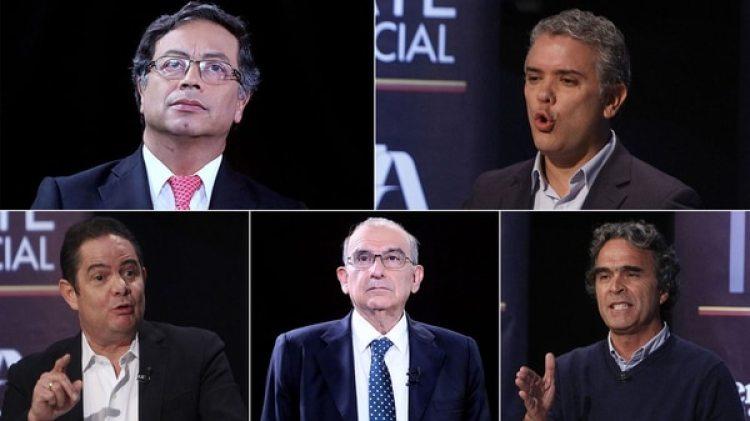Los candidatos presidenciales mejor ubicados en las encuestas: Gustavo Petro, Iván Duque, Germán Vargas Lleras, Humberto de la Calle y Sergio Fajardo.