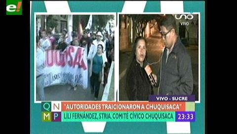 Lili Fernández cívica de Chuquisaca: «Regalaron nuestro territorio por votos»