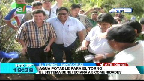 Evo Morales inauguró el sistema de agua potable en El Torno