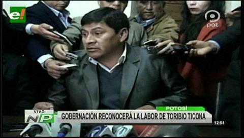 Gobernación de Potosí reconocerá labor de Toribio Ticona