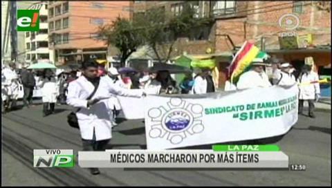 La Paz: Médicos marcharon exigiendo más ítems
