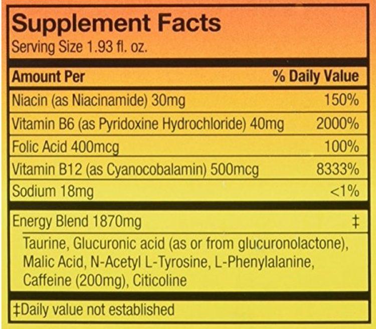 En cada botella de 56 mililitros de 5-Hour Energy hay 200 miligramos de cafeína.