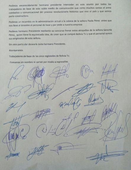 """Trabajadores de Bolivia TV denuncian """"maltratos"""" de Paola Pérez que hace seis días renunció"""