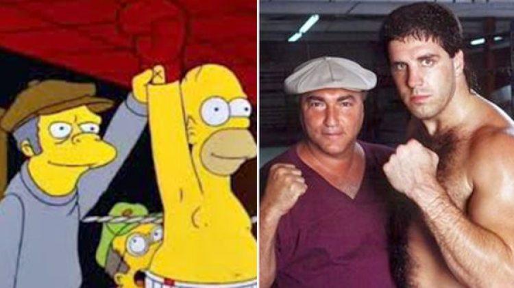 Moe y Homero se asemejan al entrenador Vinnie Vecchione y el boxeador McNeeley