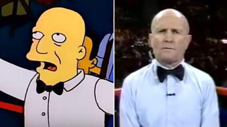Mills Lane, árbitro de Boxeo, caracterizado en Los Simpsons