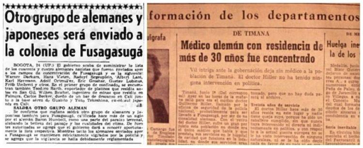 Noticias de la época sobre la concentración de alemanes, italianos y japoneses acusados de colaborar con países del Eje.