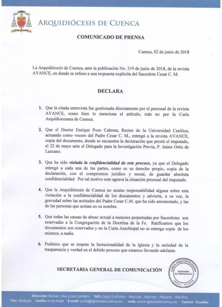 El comunicado de la Arquidiócesis de Cuenca