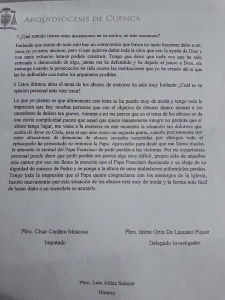 La declaración del padre acusado, César Cordero Moscoso