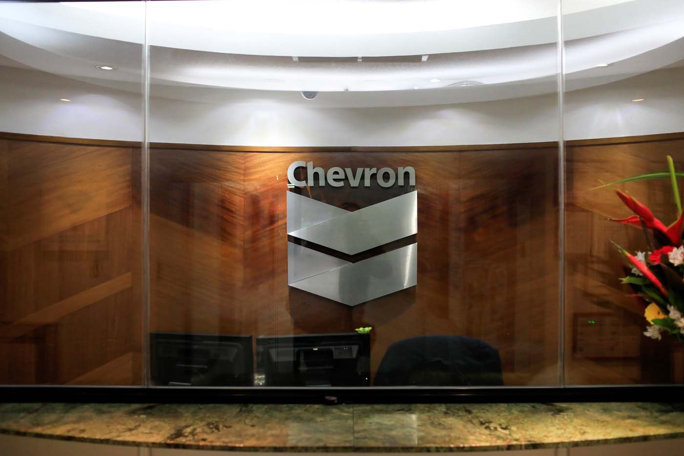 The logo of Chevron is seen at the company